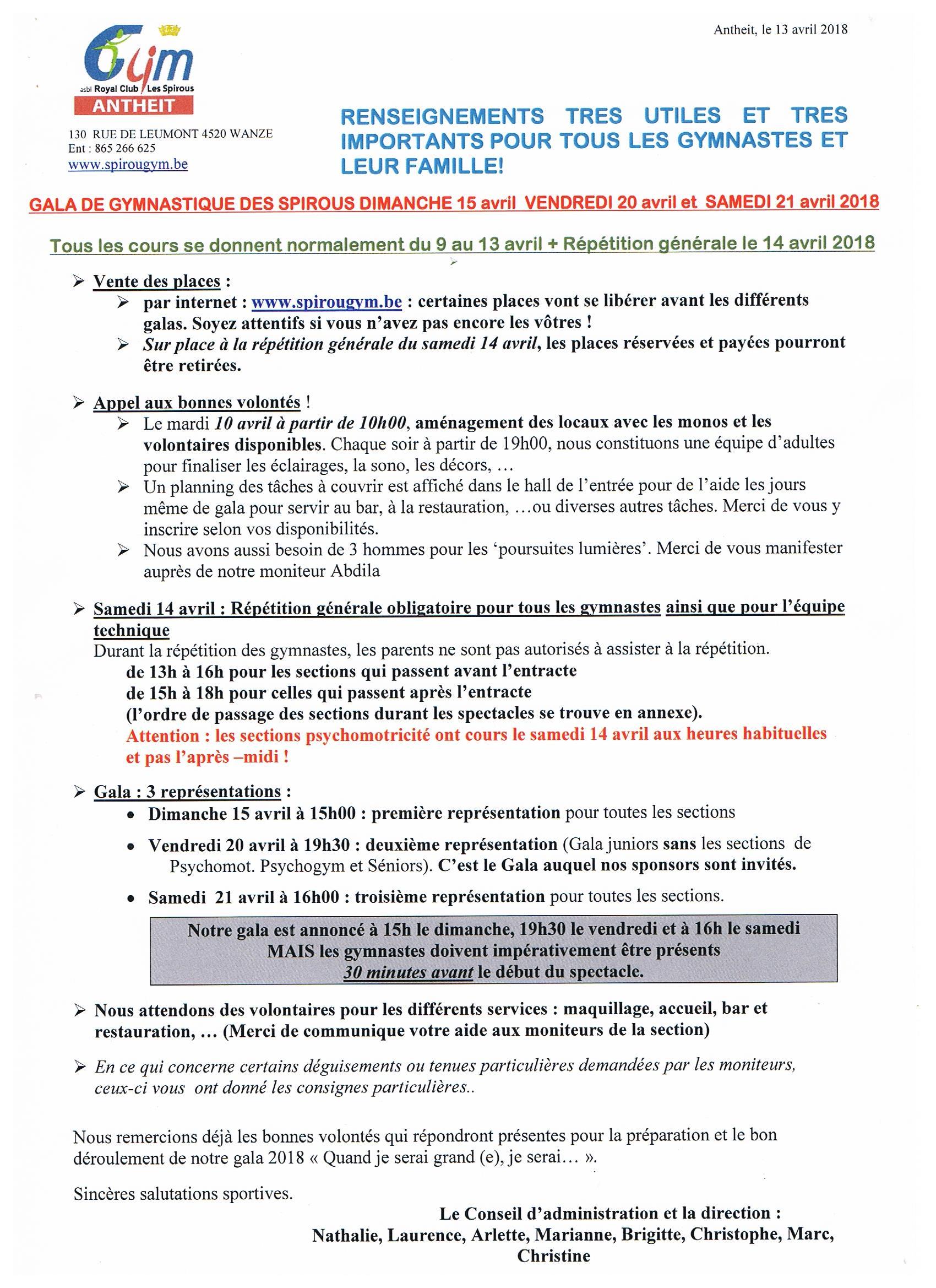 Infos générales GALA 2018